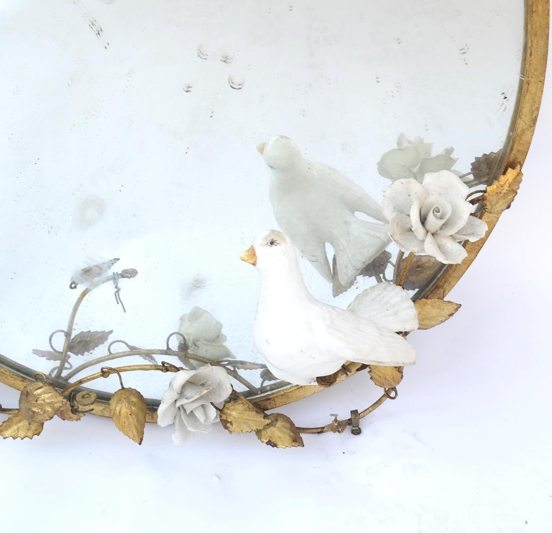 Circular Gilt Metal Mirror - 2