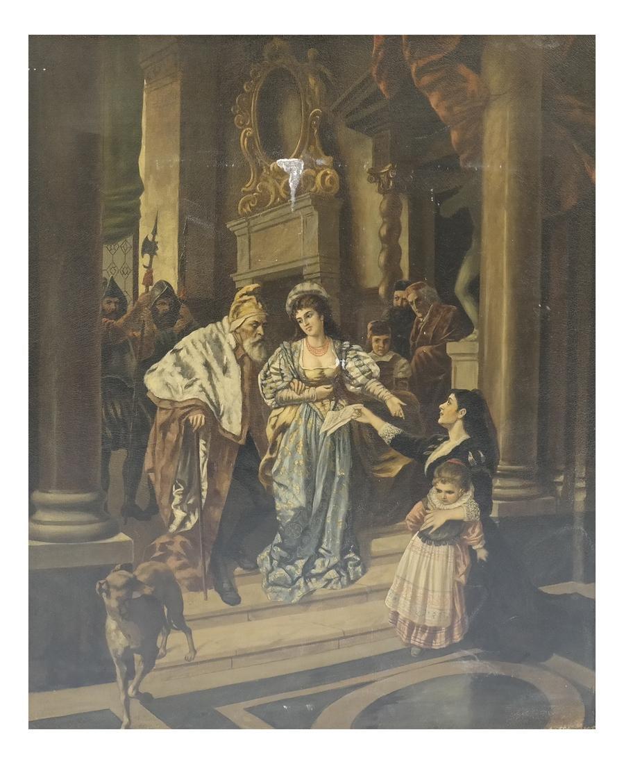 Royal Court Scene, Framed Oil on Canvas