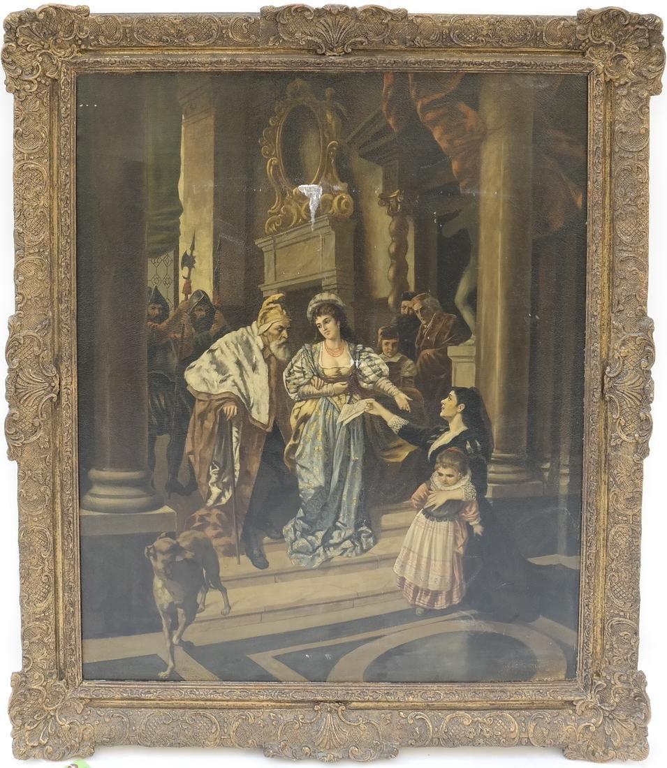 Royal Court Scene, Framed Oil on Canvas - 2
