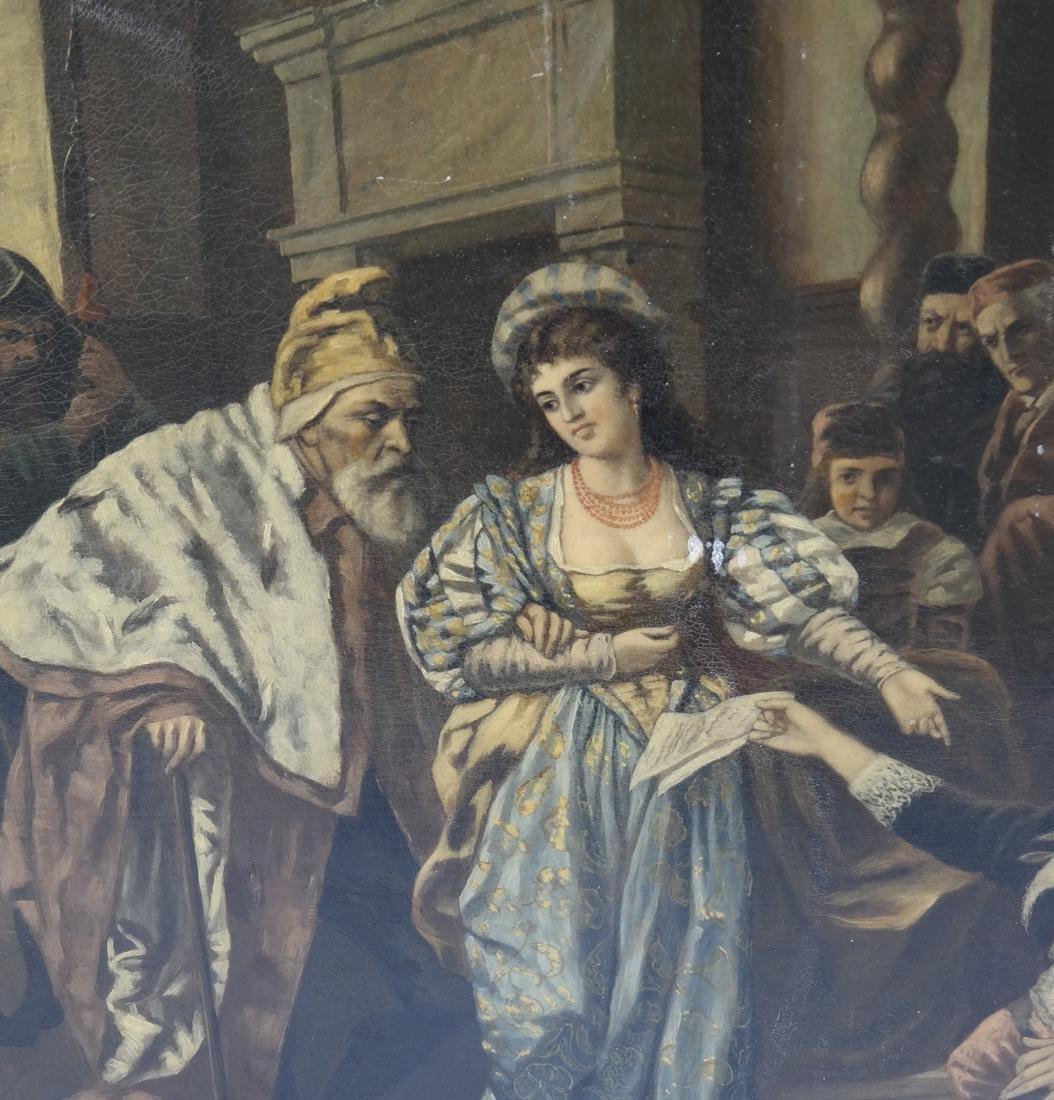 Royal Court Scene, Framed Oil on Canvas - 3