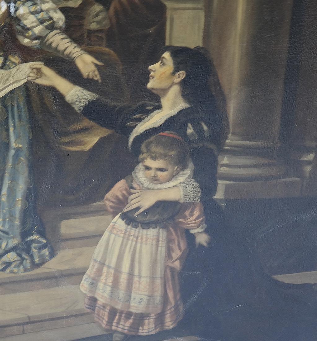 Royal Court Scene, Framed Oil on Canvas - 5