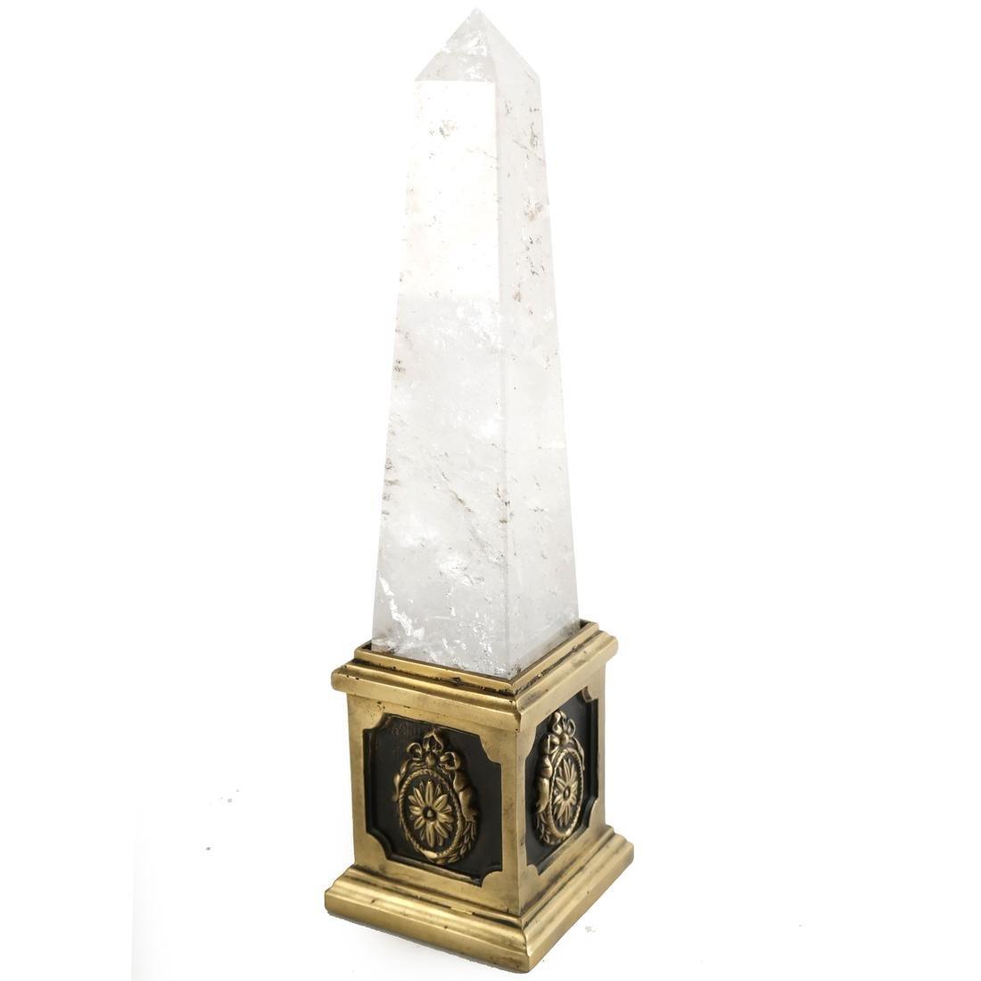 Brass-Mounted Rock Crystal Obelisk
