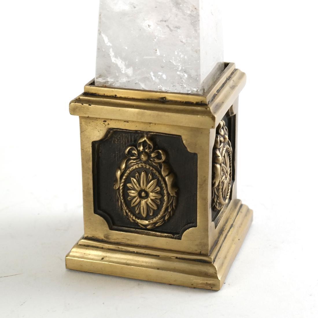 Brass-Mounted Rock Crystal Obelisk - 4