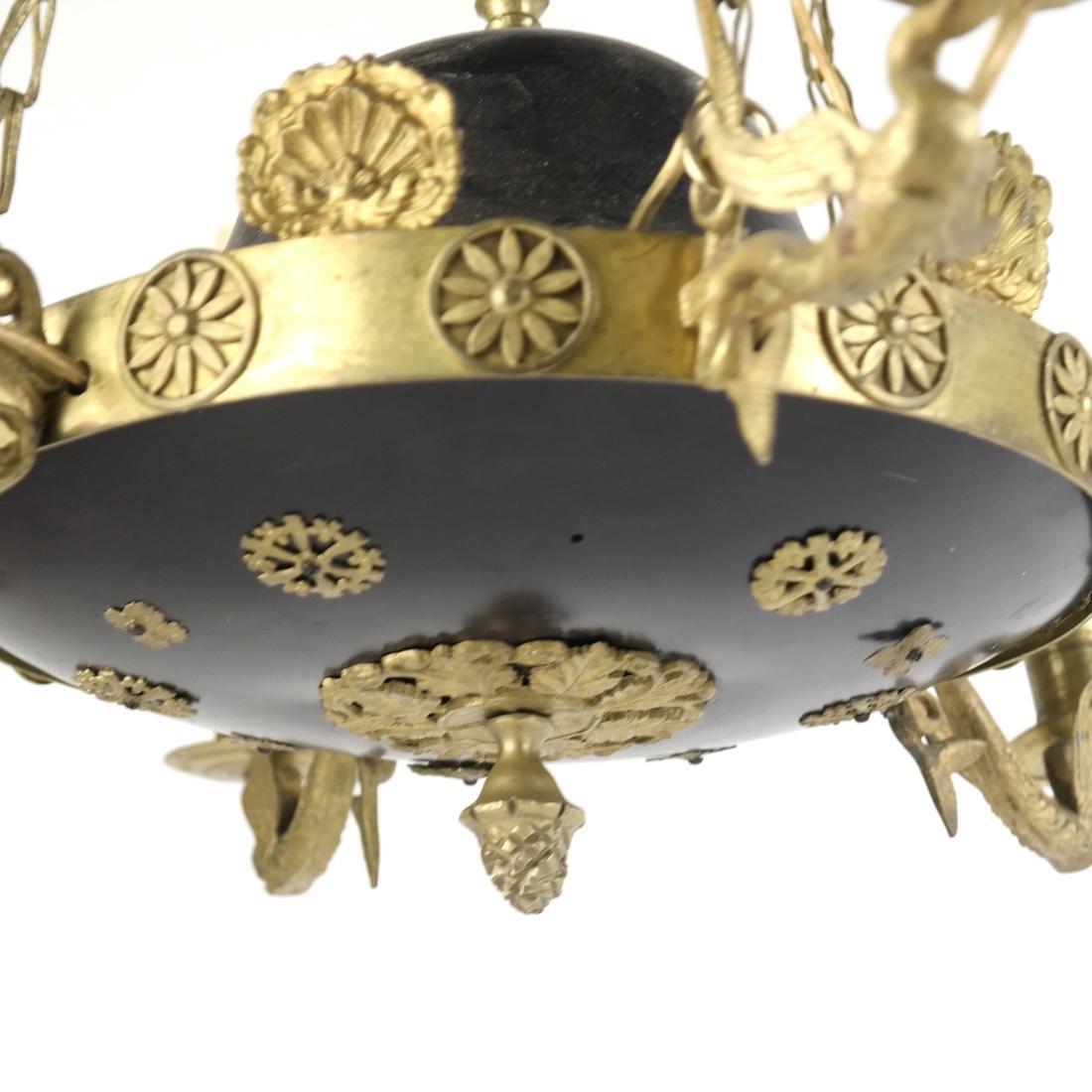 Empire Style Tole & Brass Chandelier - 4