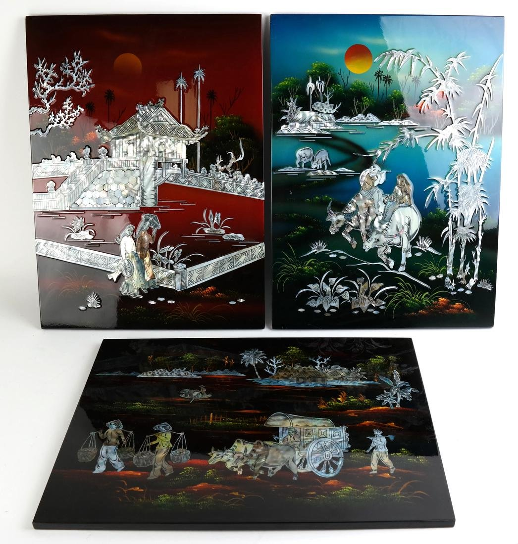 Three Lacquered Asian Panels