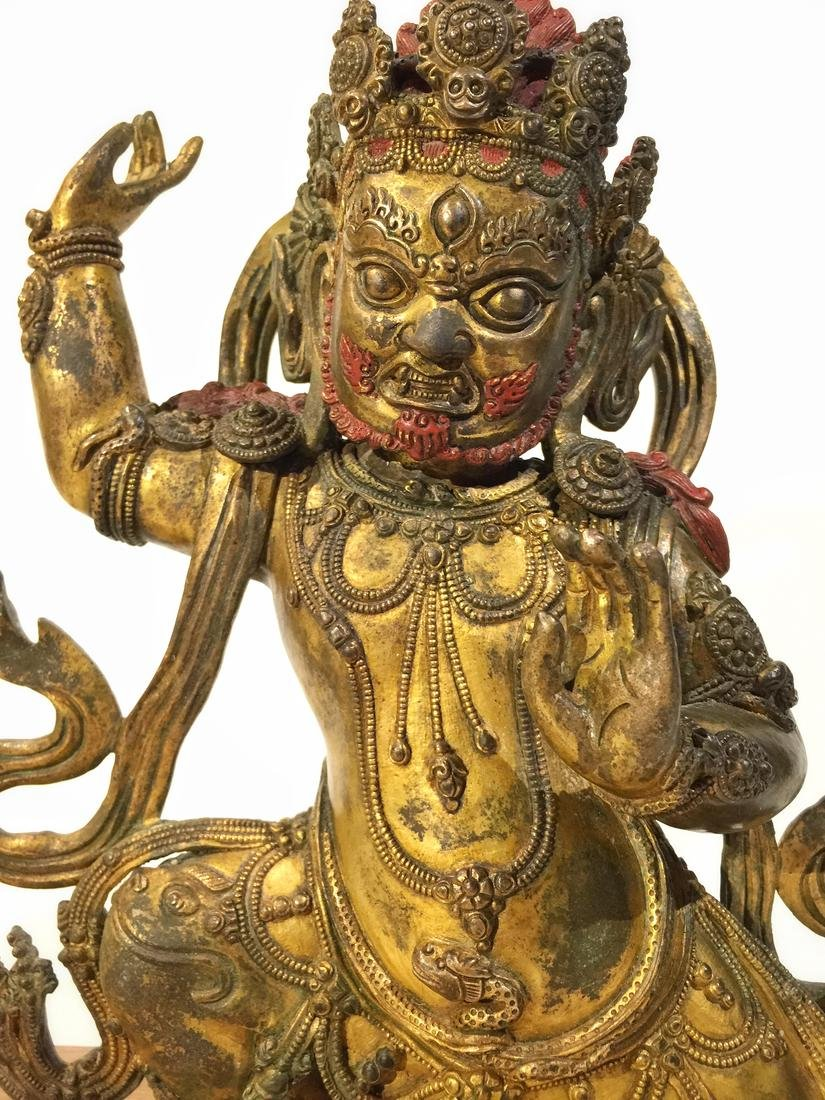 Asian Gilt Bronze Mahakala Statue - 2