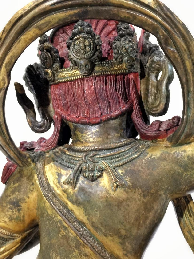 Asian Gilt Bronze Mahakala Statue - 3