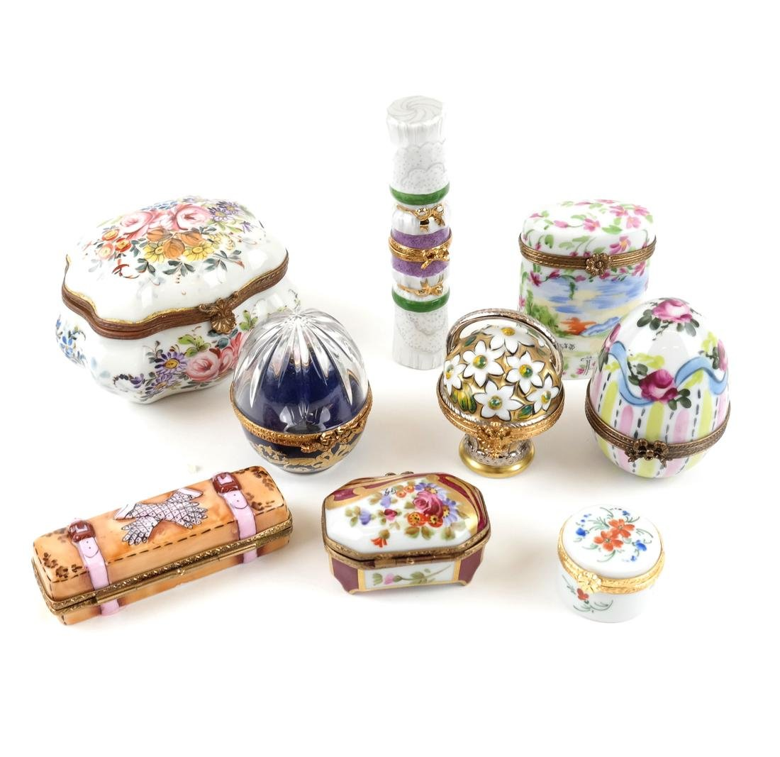 Nine Assorted Limoges Boxes