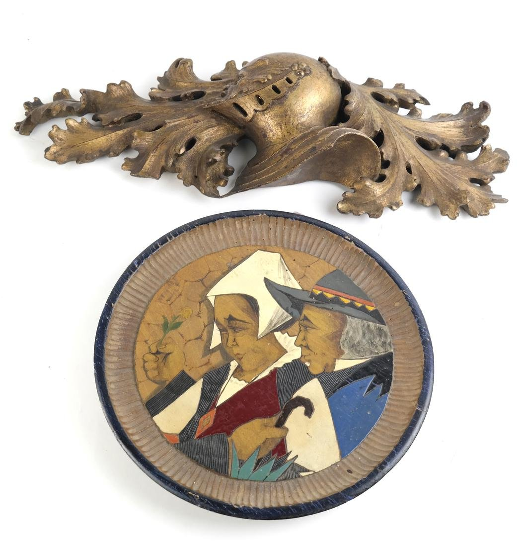 Gilt Wood Relief & Quimper Plate