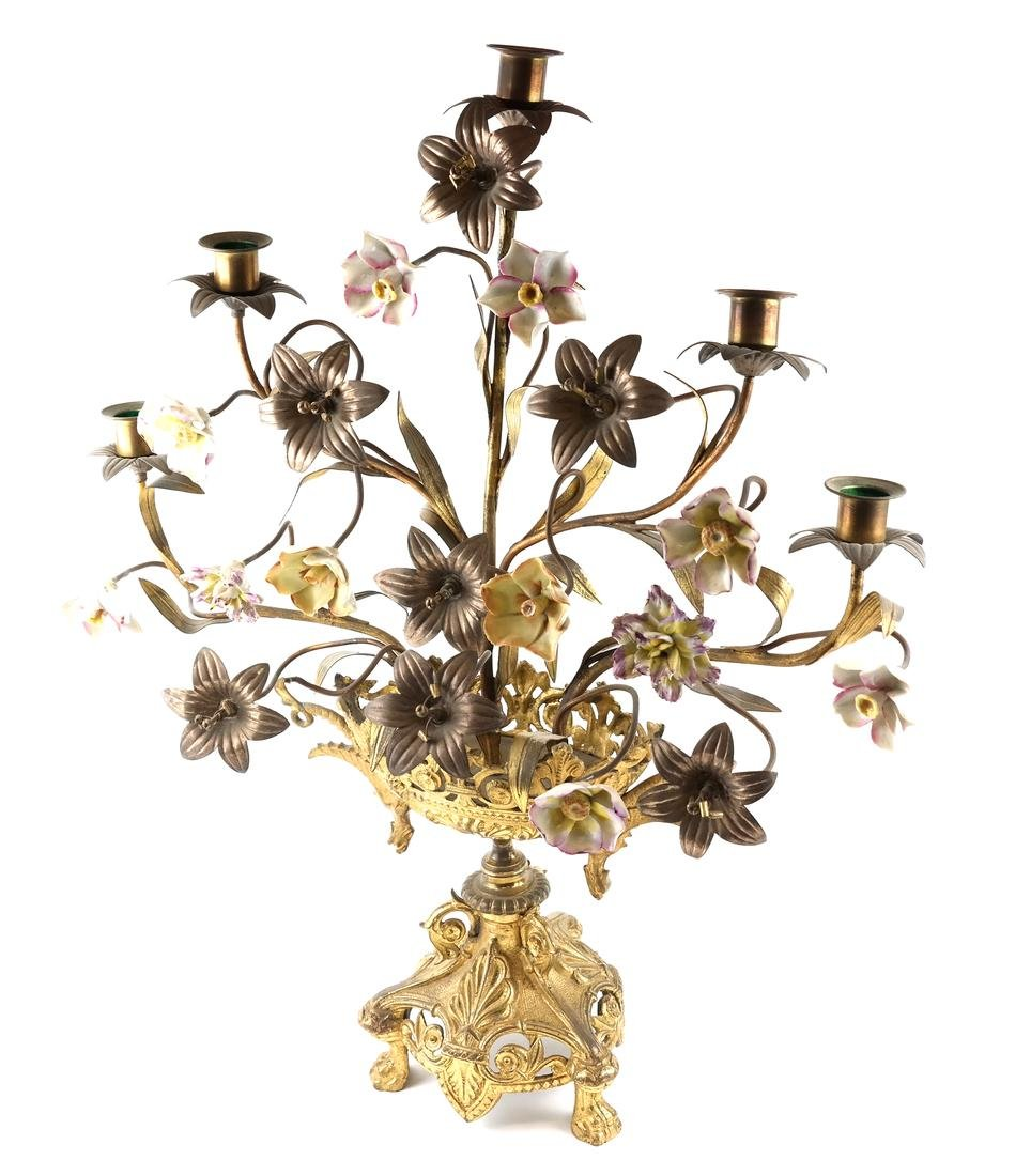 Gilt Metal & Porcelain Candleabrum