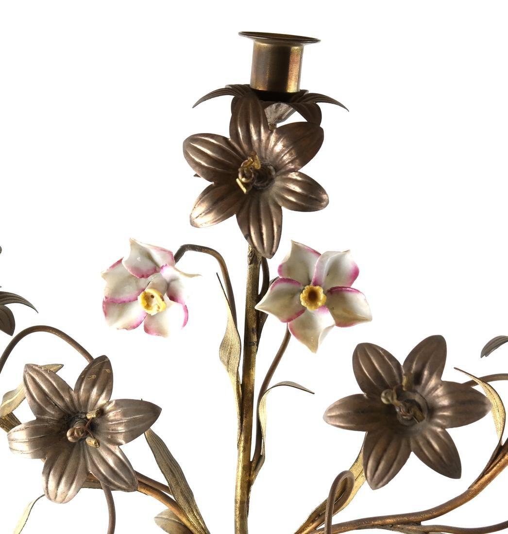 Gilt Metal & Porcelain Candleabrum - 3