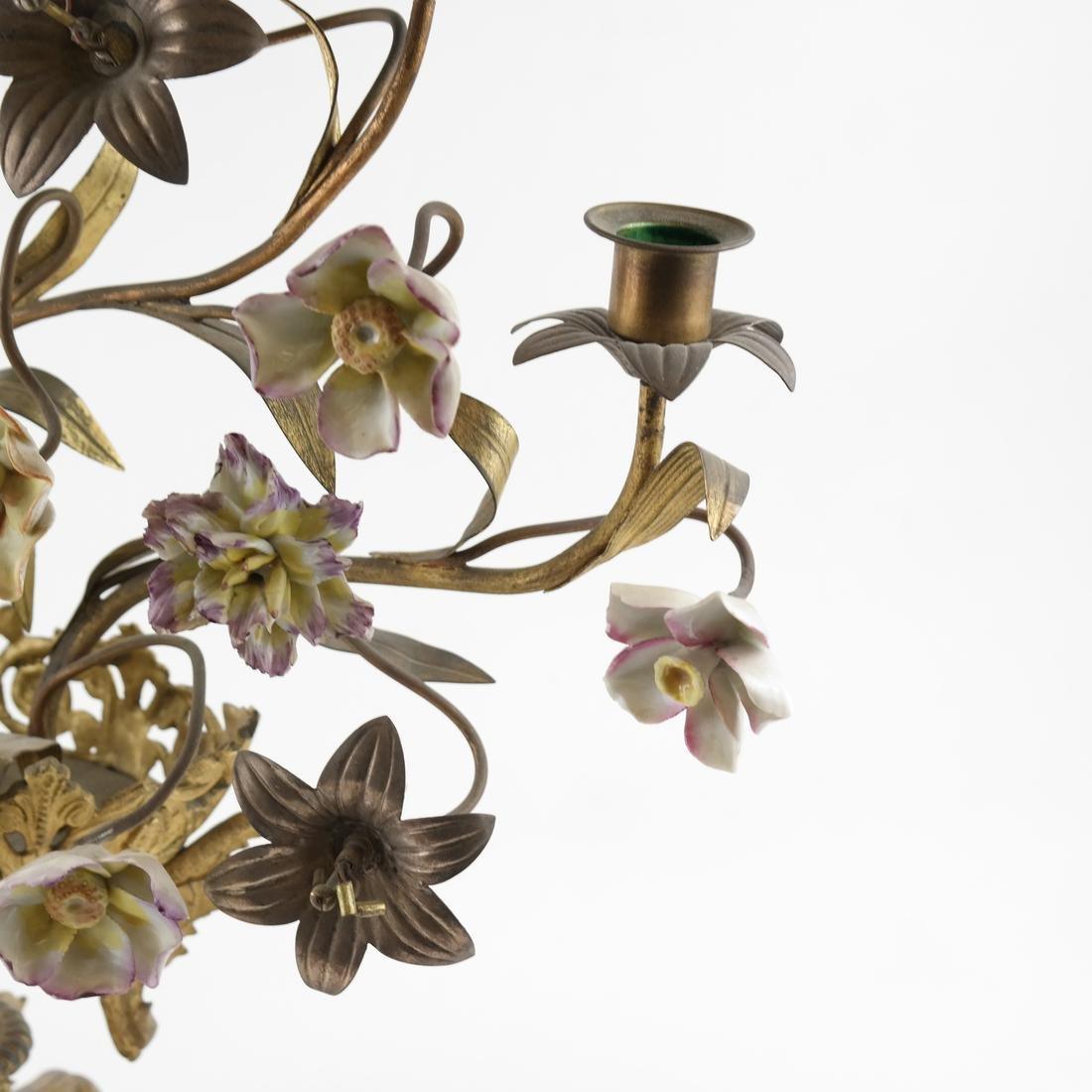 Gilt Metal & Porcelain Candleabrum - 4