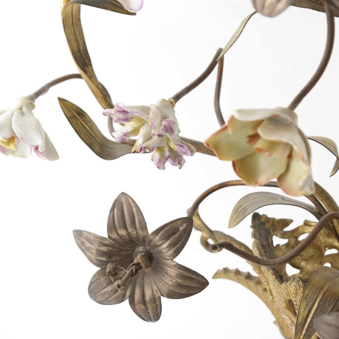 Gilt Metal & Porcelain Candleabrum - 5