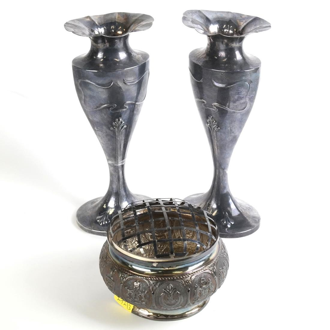 Pair of French Pewter Vases & Other
