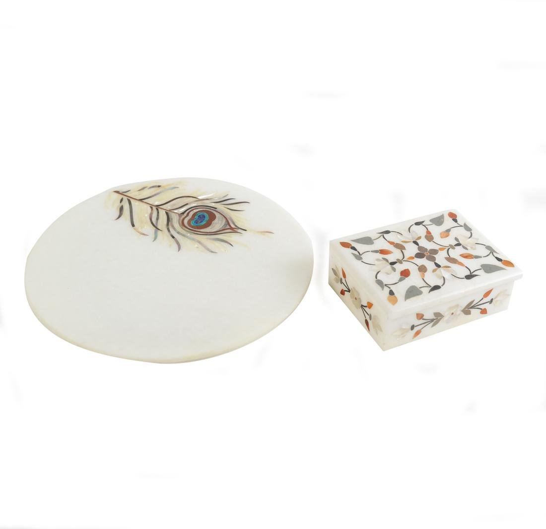 India Marble Inlaid Box and Plate