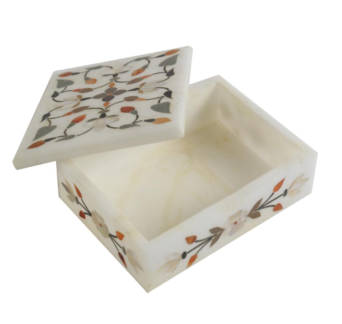 India Marble Inlaid Box and Plate - 4