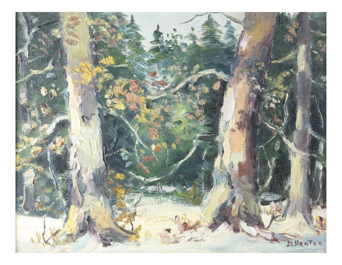 B. Benton, White Birch, Oil on Board