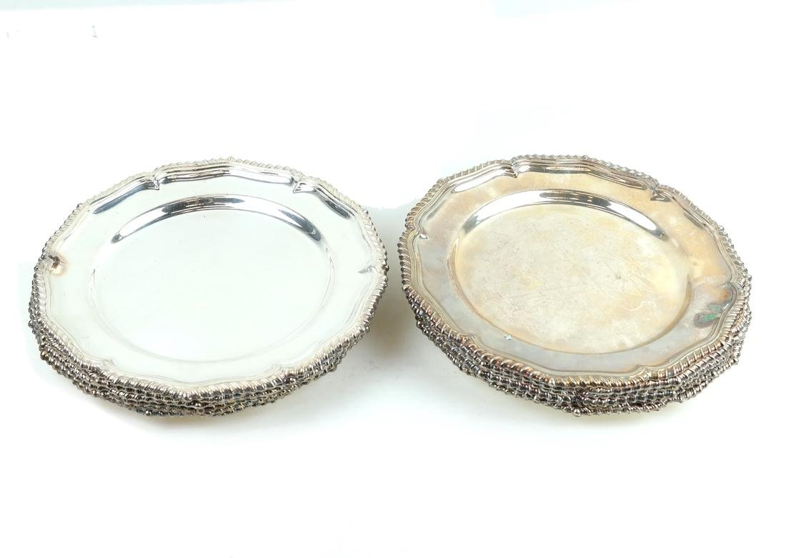 Twelve English Silver-plated Plates