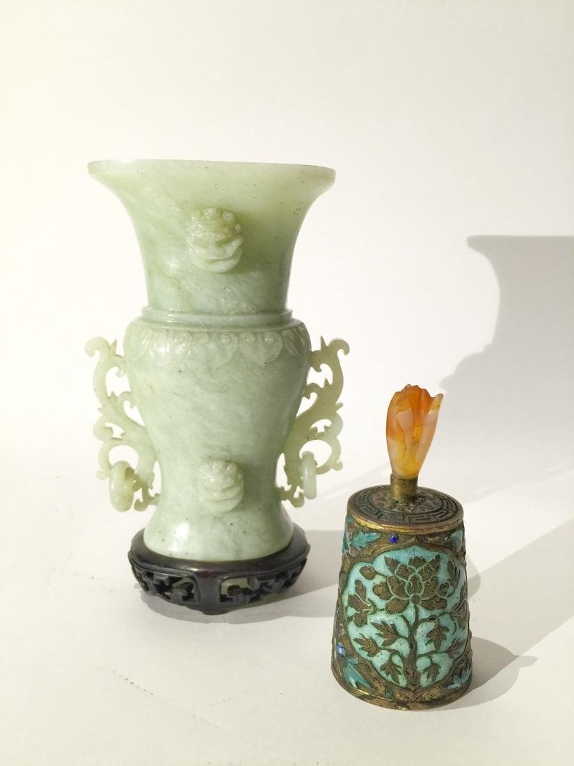 Fine Chinese Jade Vase and Enameled Bell