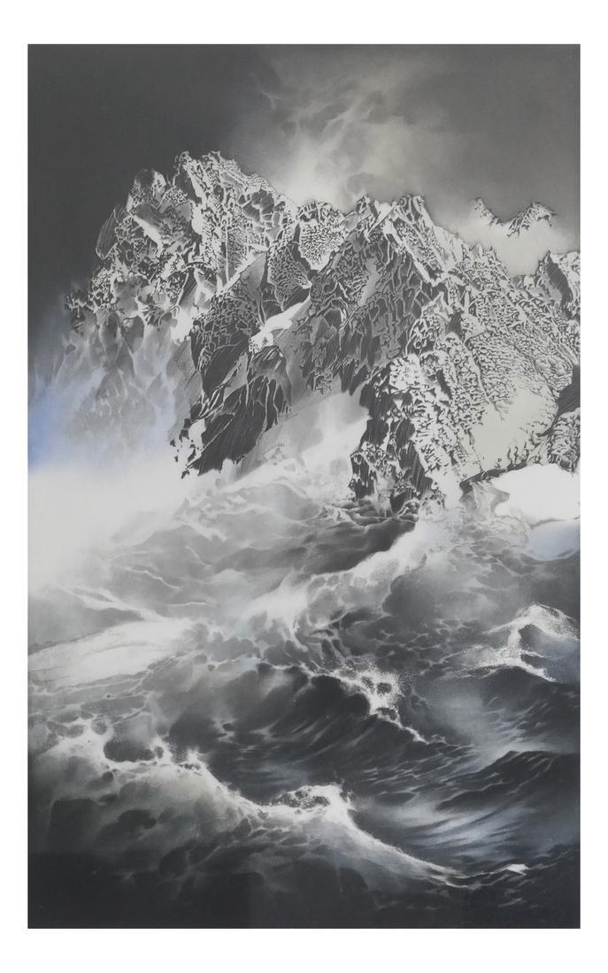 Mountain Seascape Lithograph