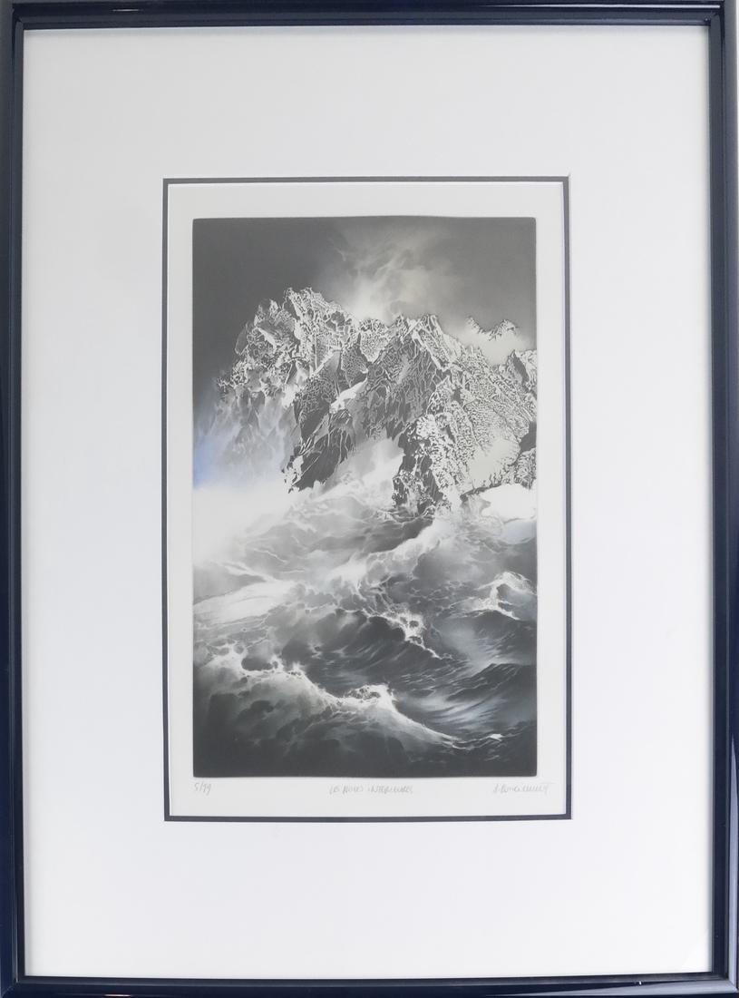 Mountain Seascape Lithograph - 2
