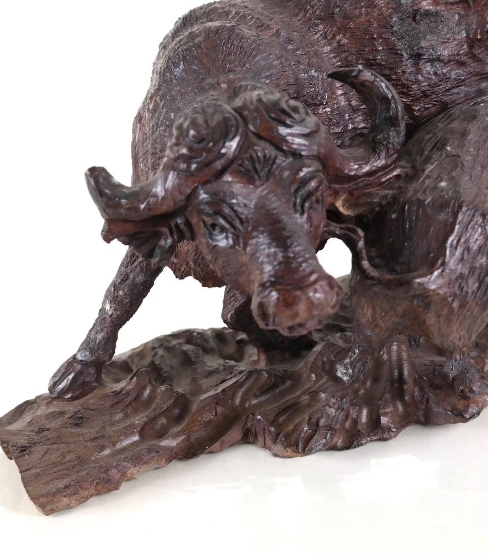 Wood Carved Sculpture of Bulls - 2