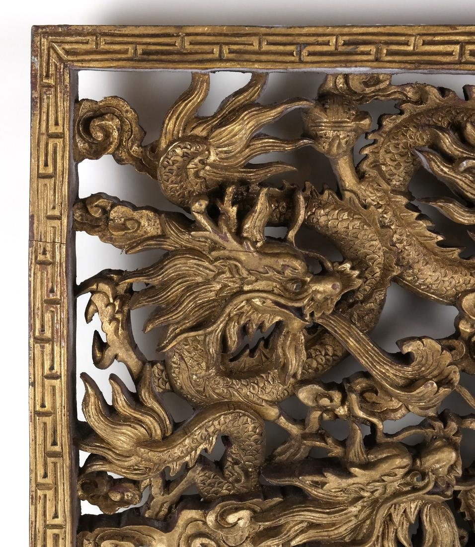Chinese Carved Gilt Wood Panel - 4