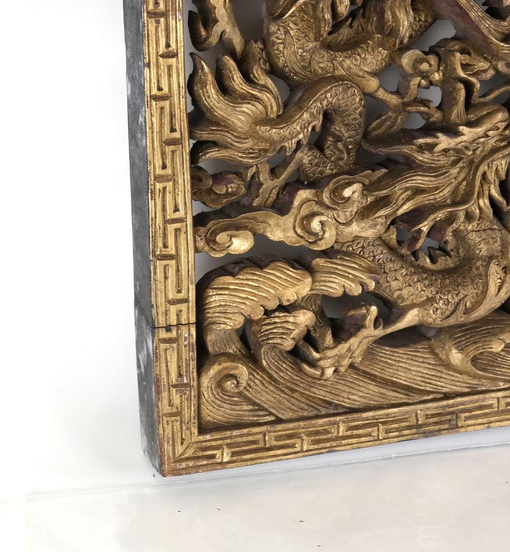 Chinese Carved Gilt Wood Panel - 5