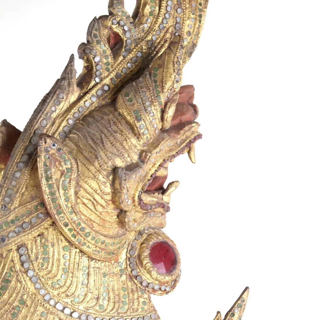 Giltwood Carved Dragon Mask - 3