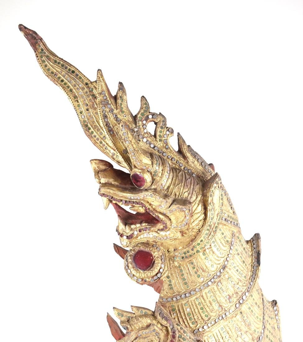 Giltwood Carved Dragon Mask - 8