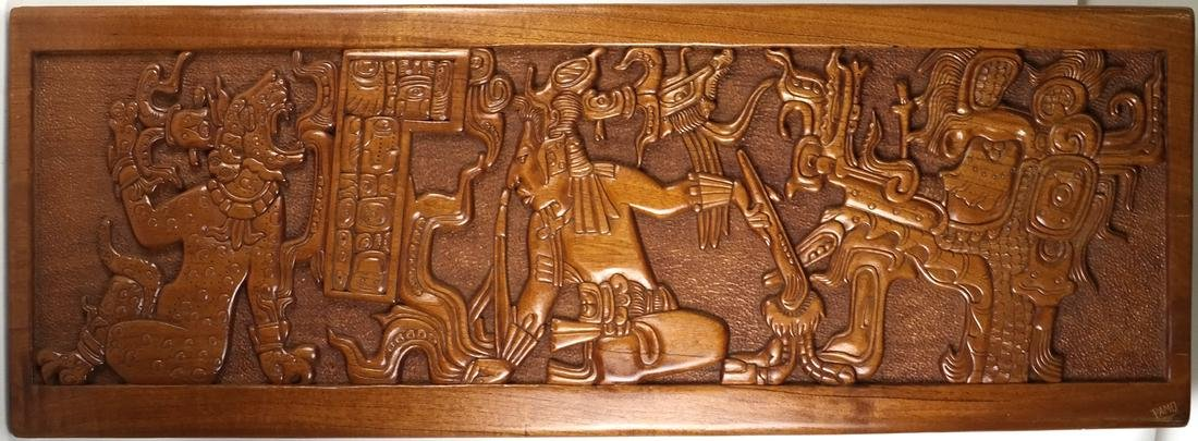 Mayan Style Wood Carved Relief