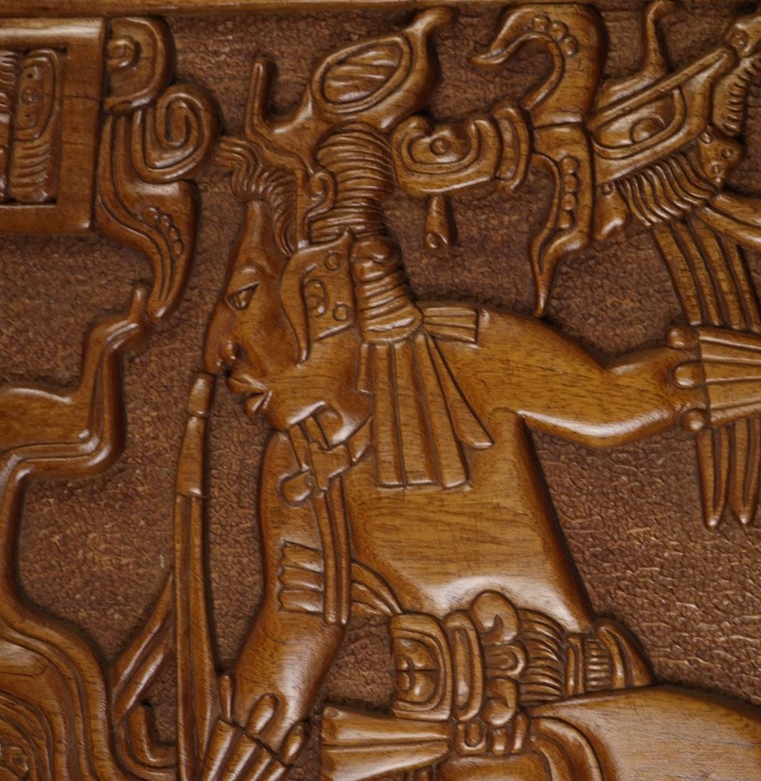 Mayan Style Wood Carved Relief - 2