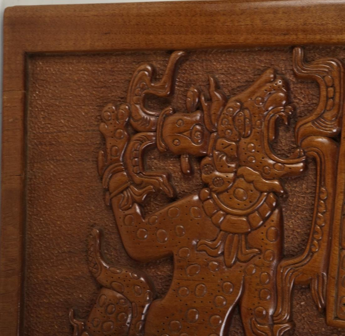 Mayan Style Wood Carved Relief - 3