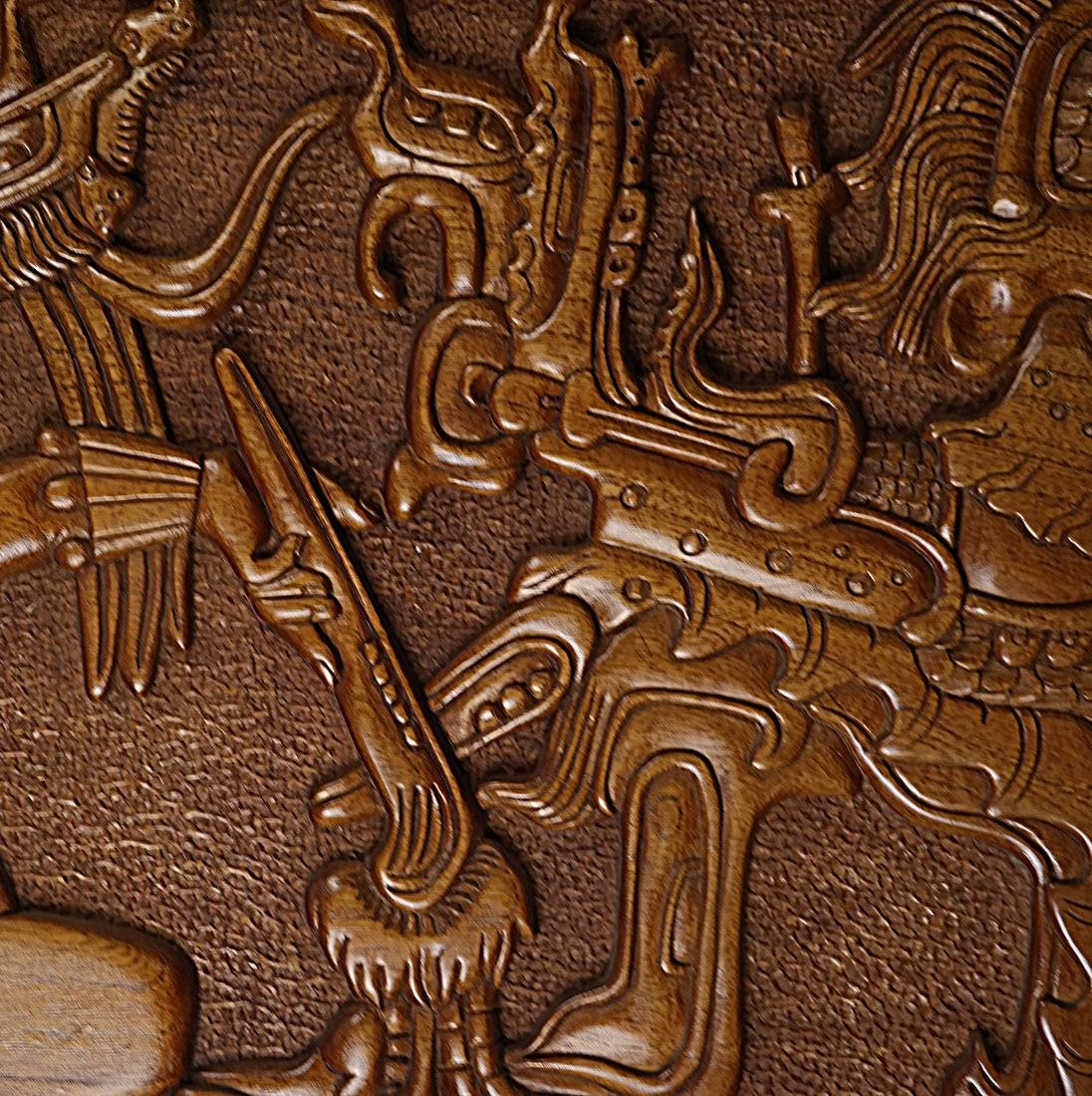 Mayan Style Wood Carved Relief - 4