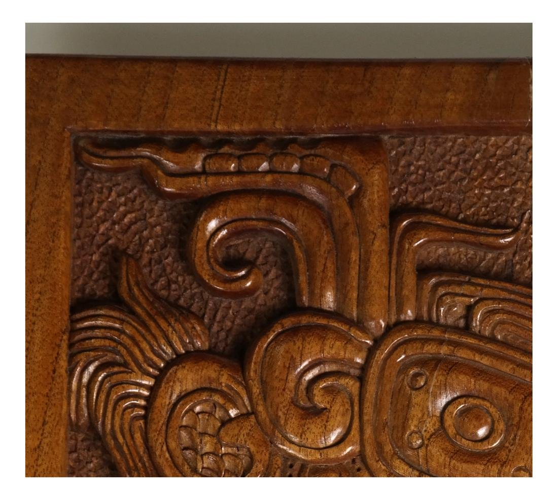 Mayan Style Wood Carved Relief - 5
