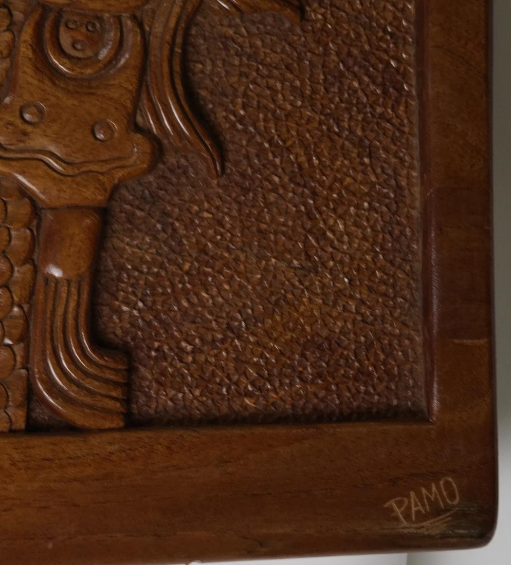 Mayan Style Wood Carved Relief - 7