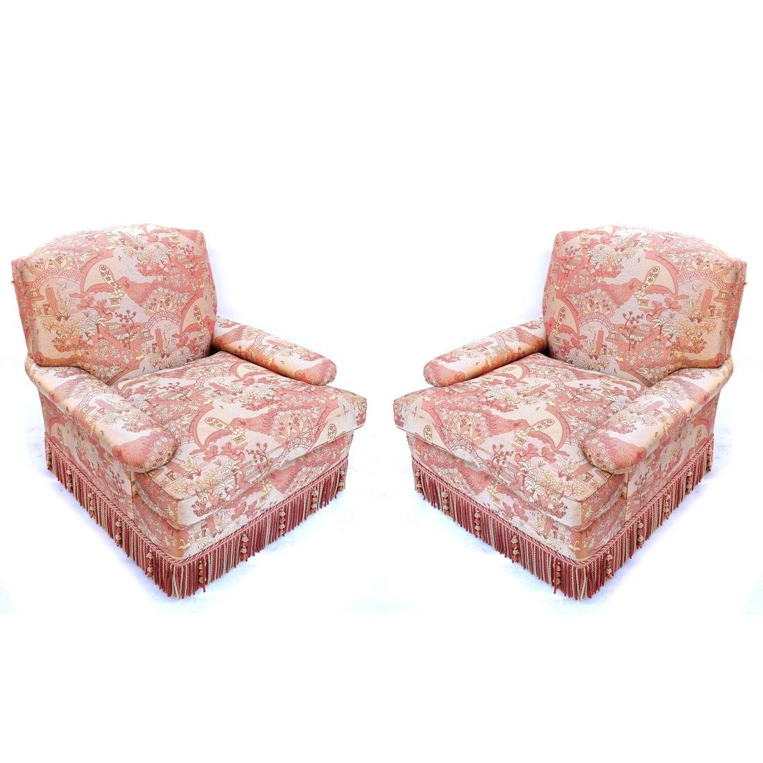 Pair of Silk Upholstered Club Chairs