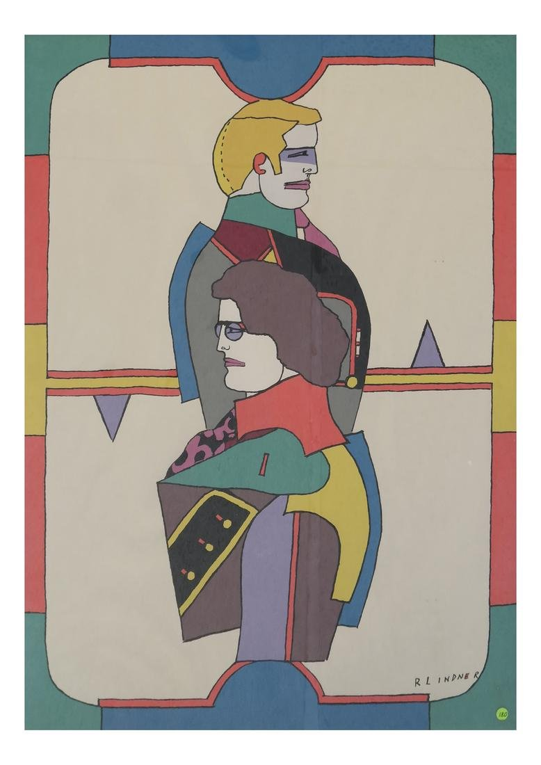 Richard Lindner Two Modernist Figures