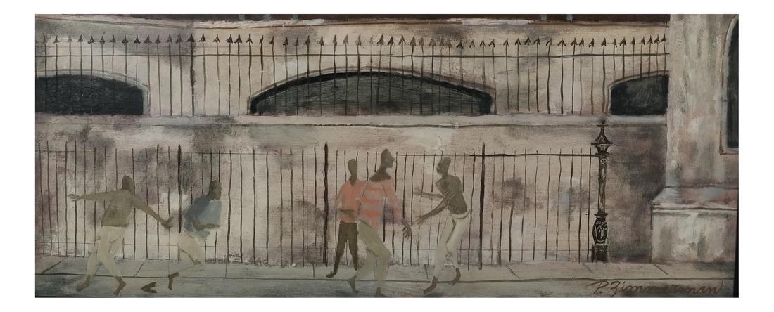 Pedestrian Street Scene, Framed O/B
