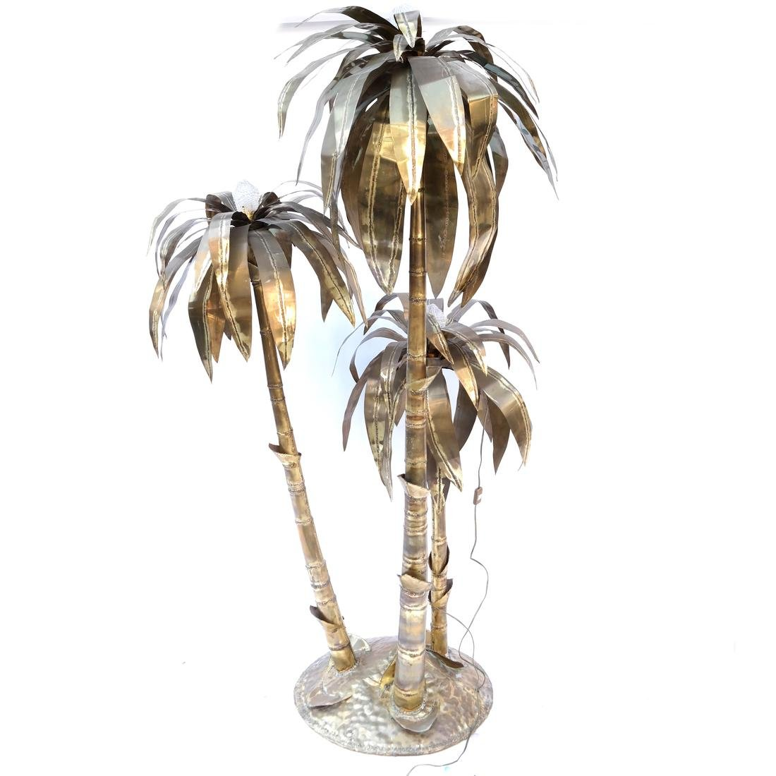 Sculptural Brass Palm Tree Floor Lamp