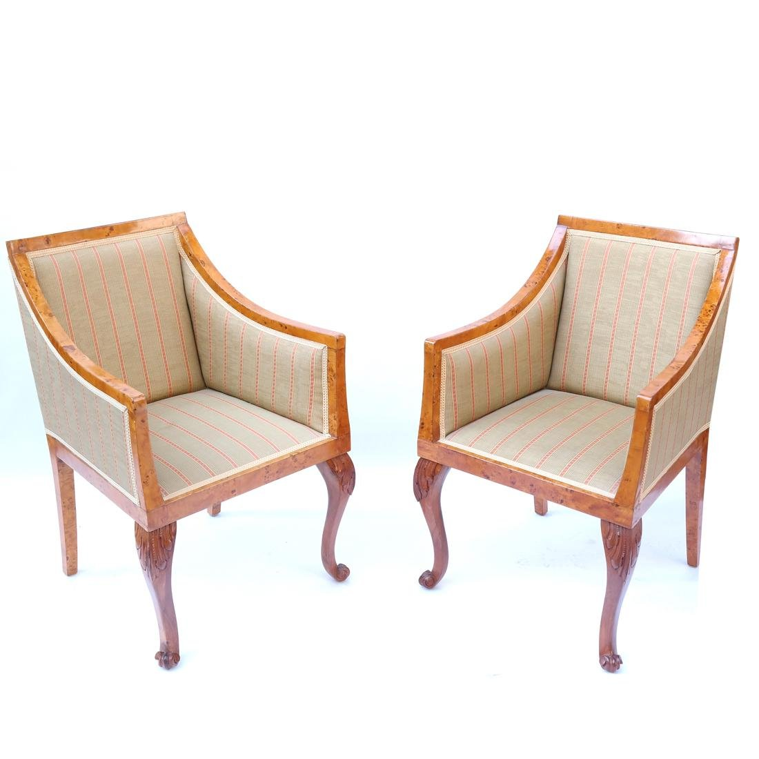 Pair of Transition Maple Armchairs