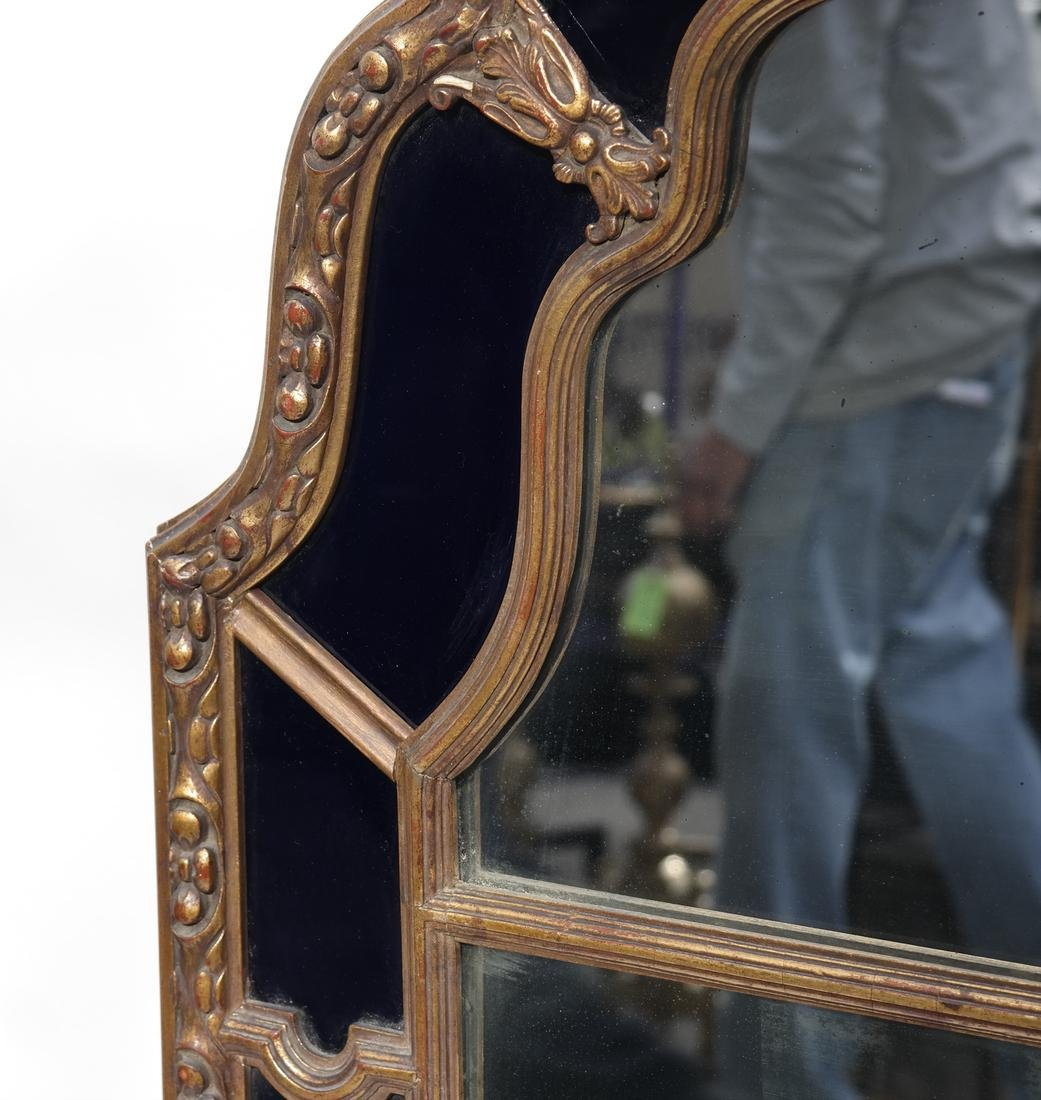 Gilt Wood & Cobalt Glass Framed Mirror - 5