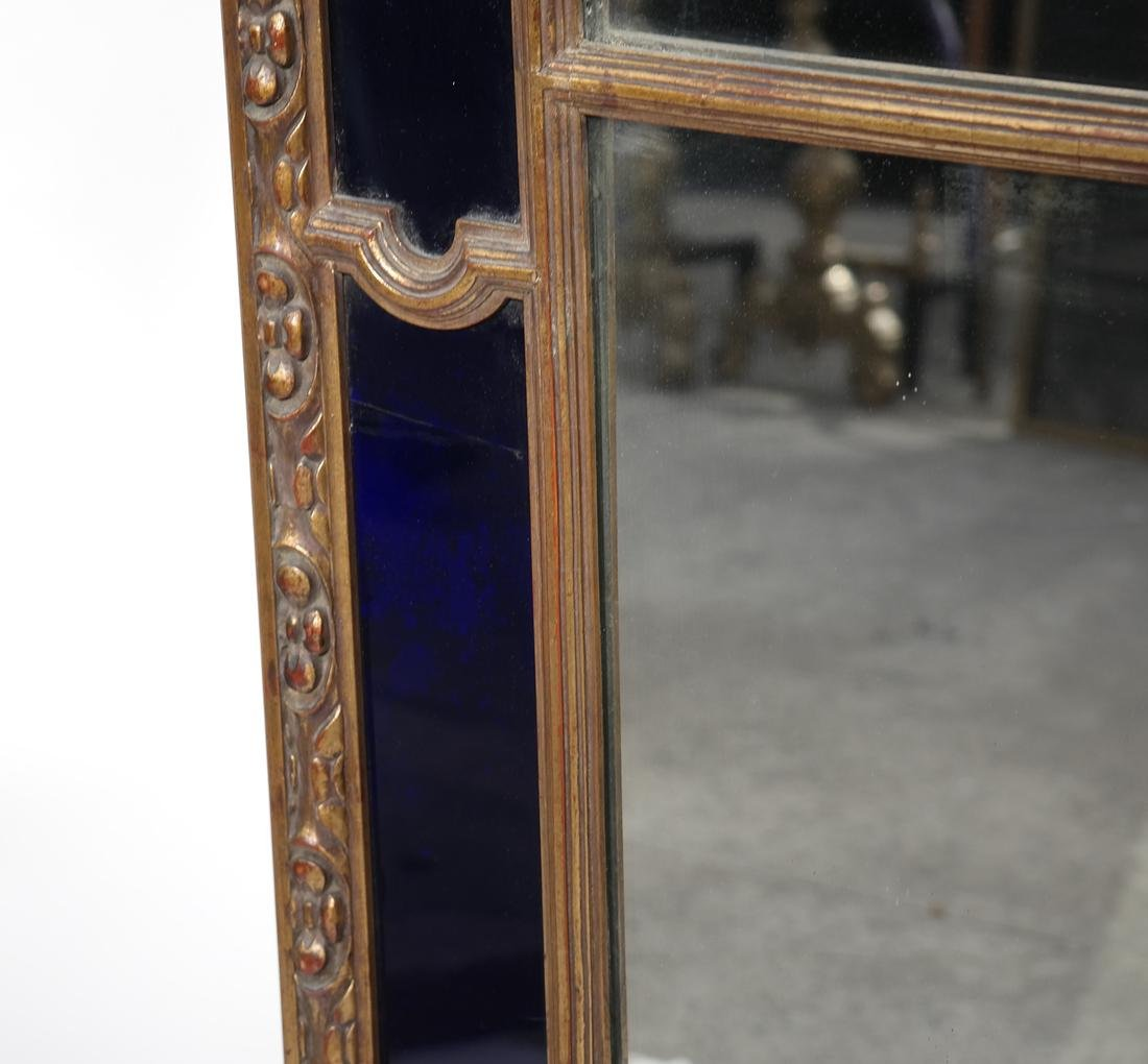 Gilt Wood & Cobalt Glass Framed Mirror - 6