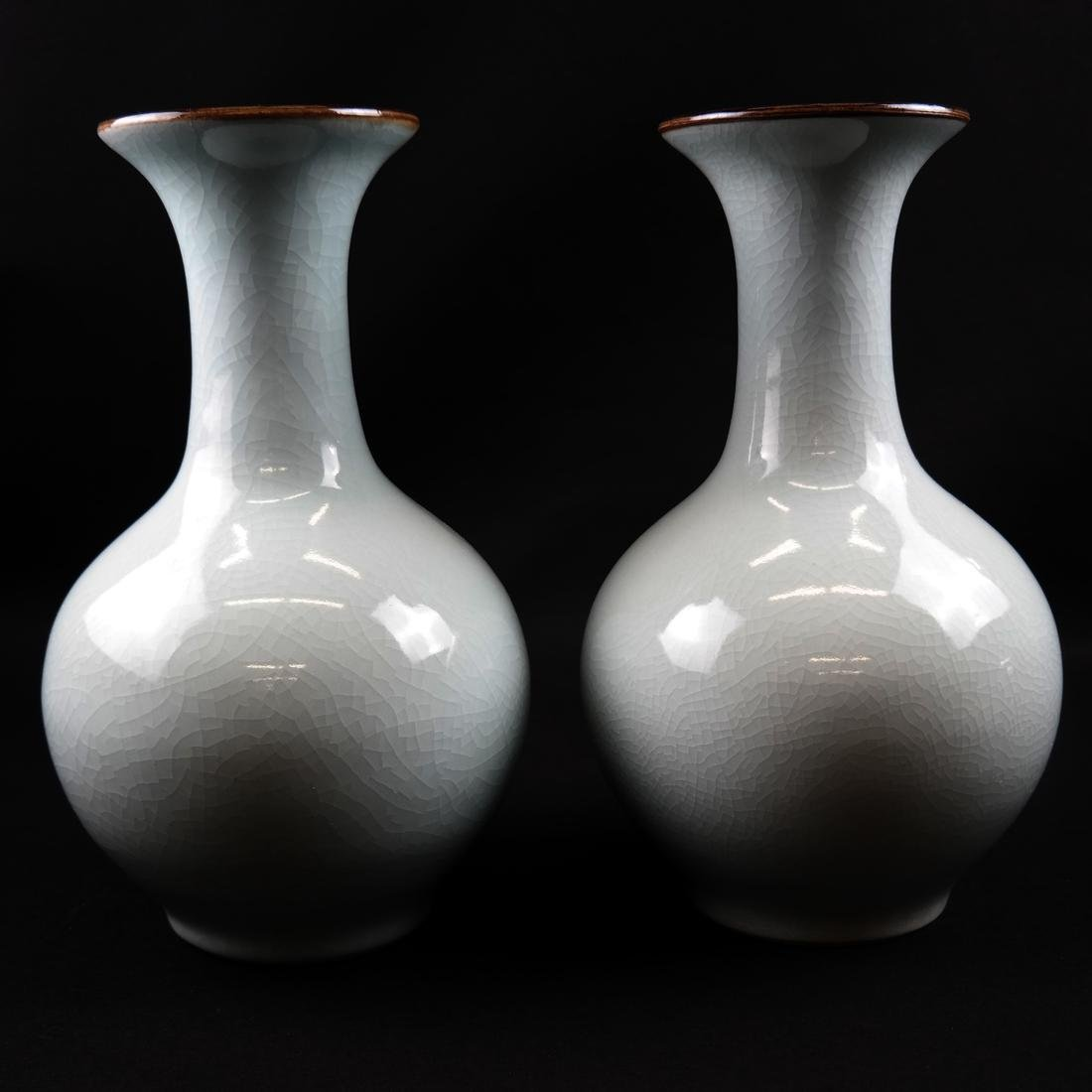 Pair of Celadon-Style Vases