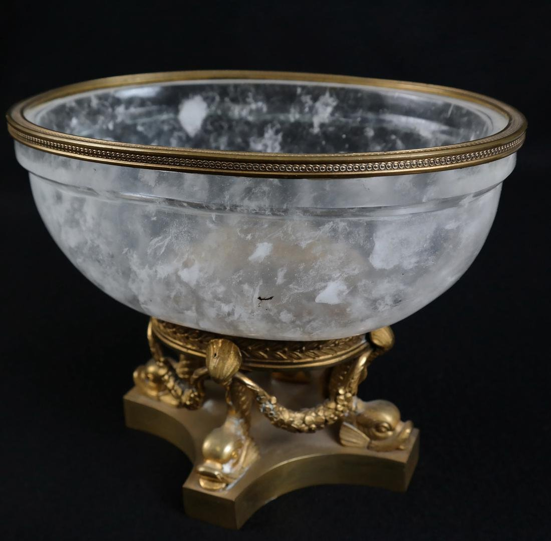 Faux Rock Crystal Ormolu Mounted Footed Bowl