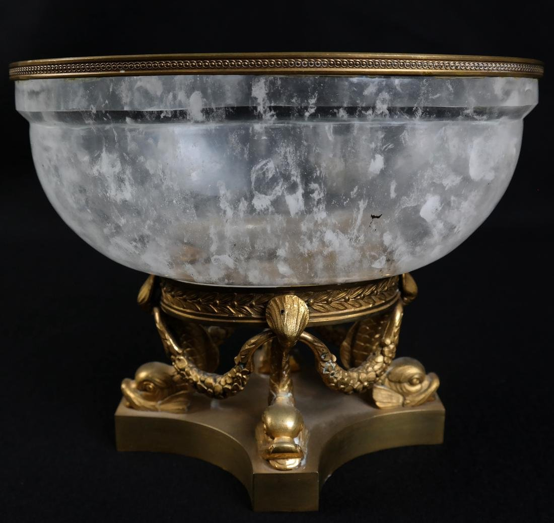 Faux Rock Crystal Ormolu Mounted Footed Bowl - 2