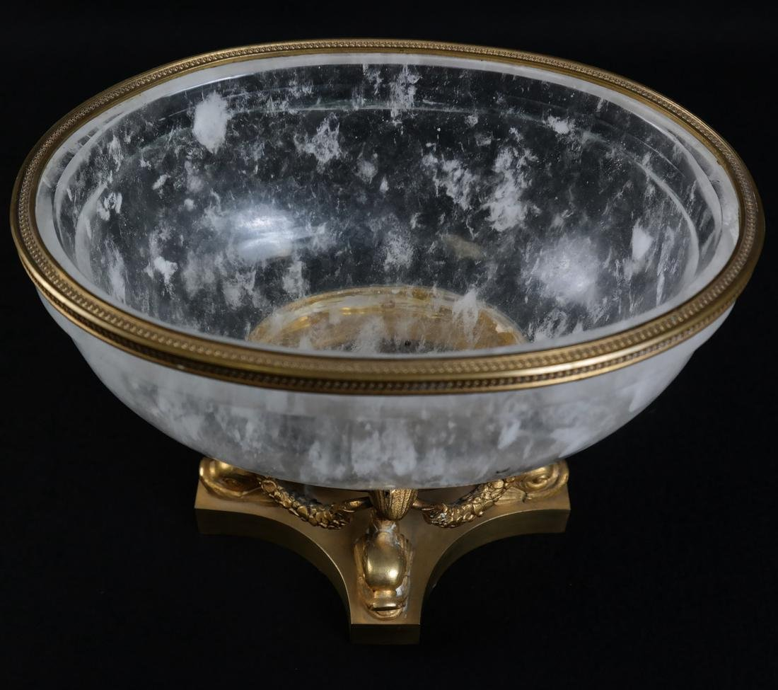 Faux Rock Crystal Ormolu Mounted Footed Bowl - 3
