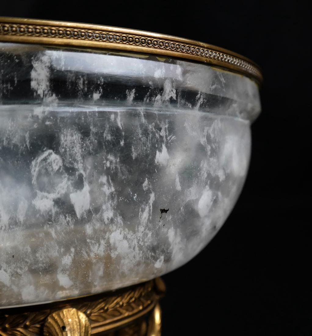 Faux Rock Crystal Ormolu Mounted Footed Bowl - 6