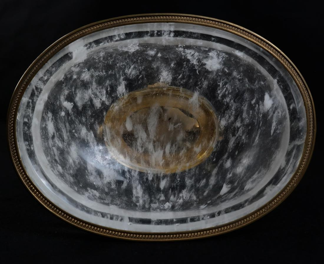 Faux Rock Crystal Ormolu Mounted Footed Bowl - 7
