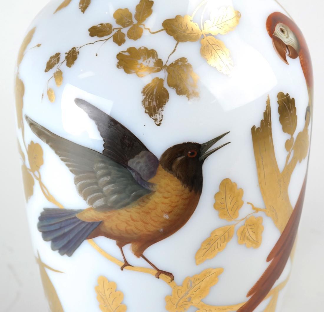 Parcel Gilt Enameled Opaline Glass  Vase Lamp - 2